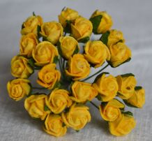 8mm YELLOW SEMI-OPEN ROSE BUDS Mulberry Paper Flowers